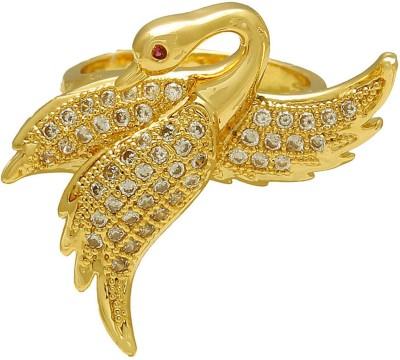 Memoir Gold plated CZ studded Swan shaped finger ring, for Women Brass Cubic Zirconia Gold-plated Plated Ring