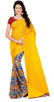c920dea01a View Anand Sarees Printed, Plain Daily Wear Faux Georgette Saree(Yellow)  Price Online