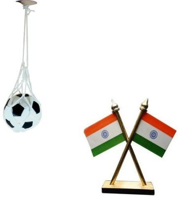 StyleWell Combo Of Double Sided Wind Car Dashboard Flag With Car Hanging Football Perfume Showpiece  -  11 cm(Plastic, Multicolor)  available at flipkart for Rs.259