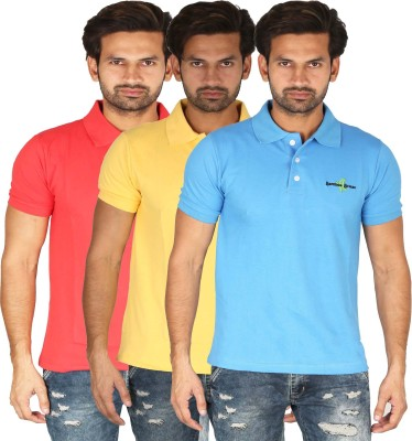 Bamboo Breeze Solid Men's Polo Neck Multicolor T-Shirt(Pack of 3)