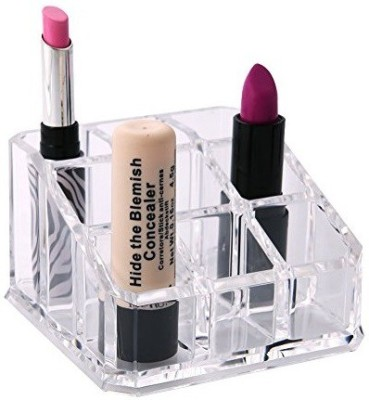 HSR Acrylic Lipstick Organizer,9 Deep Slot Clear Lipstick Display Holder Stand Cosmetic Makeup Organizer for Lipstick, Brushes & Nail Polish Vanity Box(Clear)