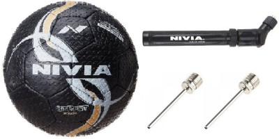 Nivia Combo of Three, One Street Football, One Double Action Pump and 2 Needle (Color On Availability)- Football -   Size: 5(Pack of 1, Multicolor)  available at flipkart for Rs.1090
