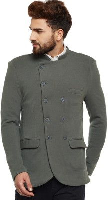 Chill Winston Solid Double Breasted Casual Men Blazer(Grey)  available at flipkart for Rs.1899