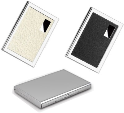 AmtiQ High Quality Combo of Stainless Steel Plain, Black and White Leather ATM/Visiting 6 Card Holder(Set of 3, Multicolor)