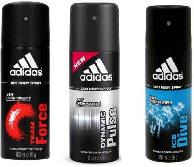 ADIDAS Team Force, Dynamic Pulse and Ice Dive Deodorant Body Spray Pack of 3  150ML each  Combo Deodorant Spray   For Men 450 ml, Pack of 3 ADIDAS Deo