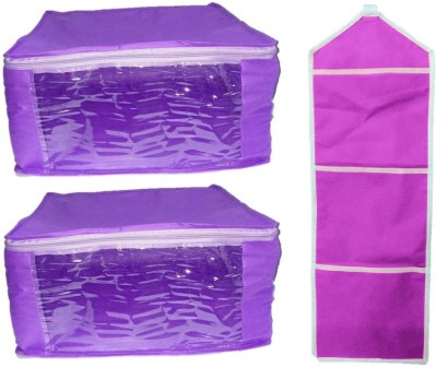 Addyz Plain Combo Of Ladies Large Non - Woven 2 Pieces saree Covers And 1 Hanging Organizer Storage Multipurpose Bag(Purple)  available at flipkart for Rs.195