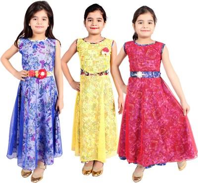 DELHIITE Girls Maxi/Full Length Casual Dress(Multicolor, Sleeveless)
