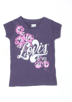 Levi's Girls Solid Cotton T Shirt(White, Pack of 1)  available at flipkart for Rs.249