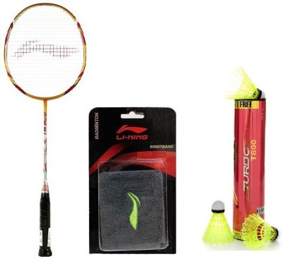 Li-Ning Combo Of Three- 'One 'G-Tek 98 I I ' Badminton racket, ' 'One Turbo T800' Nylon shuttle Cock And One Wrist band (Color On Availability)- Badminton Kit  available at flipkart for Rs.3999