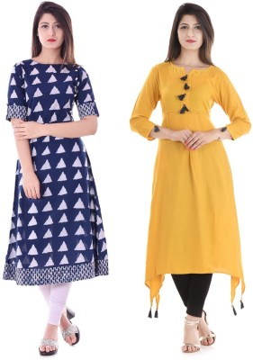 Stylum Casual Printed Women Kurti(Pack of 2, Yellow, Blue)