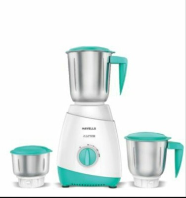 Havells Aspro 500 Watts Mixer Grinder White & Blue, (3 Jars)