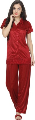 Kanika Women Solid Red Top & Pyjama Set
