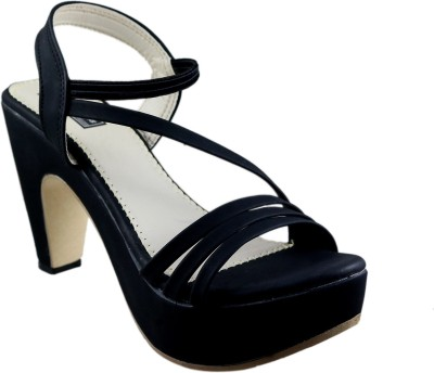 Mega Steps Women Black Heels