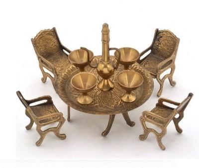Fashion Bizz Unique Design Dining Table Chair Maharaja Set Decorative Showpiece  -  7 cm(Brass, Gold)