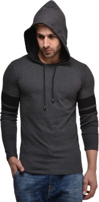 Kay Dee Solid Men Hooded Grey T-Shirt