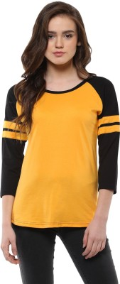 Veirdo Solid Women Round Neck Yellow T Shirt Veirdo Women's T shirts