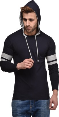 Tripr Printed Men Hooded Dark Blue T-Shirt