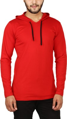 NxtSkin Solid Men Hooded Red T-Shirt
