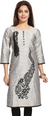 Meher Impex Women Embroidered Straight Kurta(Silver)