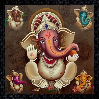 Janki God Ganeshji Fiber Glass Wall Painting Canvas Painting 14 Inch X 14 Inch