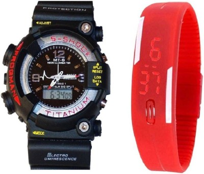 lavishable Analog-Digital S-Shock Black & Rubber Led Band Red For Boys & Girls Combo Watch - For Boys Watch  - For Boys & Girls
