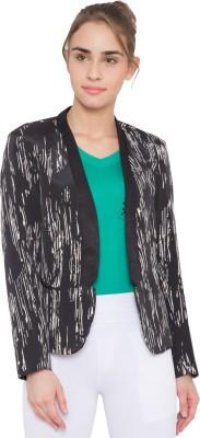 ARV Fashion Self Design Single Breasted Party Women Blazer(Black)