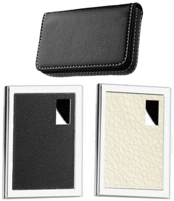 AmtiQ High Quality Combo of Plain and Stainless Steel White ATM with Platsic Aluma 6 Card Holder(Set of 3, Multicolor)