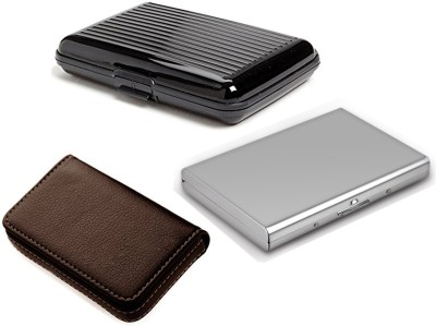AmtiQ High Quality Combo of Plastic Aluma and Soft Brown Visiting with Stainless Steel Plain ATM 6 Card Holder(Set of 3, Multicolor)
