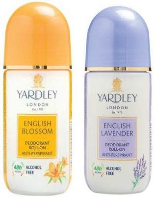 Yardley London 1 English Blossom and 1 English Lavender Deodorant Roll-on - For Men & Women(Pack of 2) Deodorant Roll-on  -  For Men & Women(100 ml, Pack of 2)  available at flipkart for Rs.340