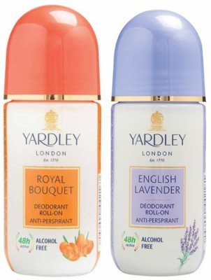 Yardley London 1 Royal Bouquet and 1 English Lavender Deodorant Roll-on - For Men & Women(Pack of 2) Deodorant Roll-on  -  For Men & Women(100 ml, Pack of 2)  available at flipkart for Rs.380