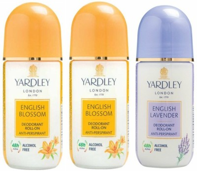Yardley London 2 English Blossom and 1 English Lavender Deodorant Roll-on - For Men & Women(Pack of 3) Deodorant Roll-on  -  For Men & Women(150 ml, Pack of 3)  available at flipkart for Rs.541