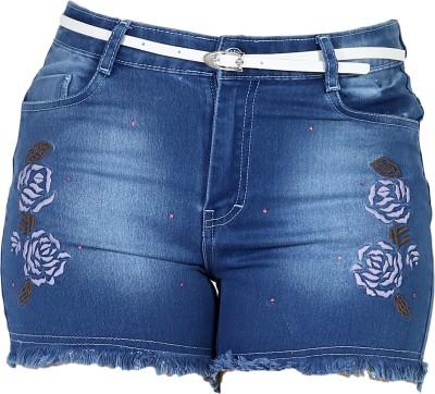 Kirosh Short For Girls Casual Embriodered Denim(Light Blue, Pack of 1)