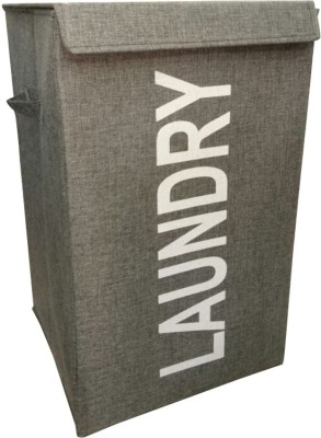 Trendy 20 L Grey Laundry Bag Cotton Trendy Laundry Baskets