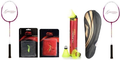 Li-Ning Combo Of Six - 'Two Smash XP 708' Badminton racket, ' 'One Turbo T800' Nylon shuttle Cock Box, Two Wrist Bands and One Kit bag- Multicolor Strung Badminton Racquet(G3, Weight - 90 g)  available at flipkart for Rs.3558
