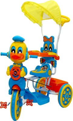 19d39f02b04 25% OFF on Oximus Baby Tricycle Red & Blue With Canopy & Parent Handle  Music 519B-yellow-tricycle Tricycle(Yellow, Blue) on Flipkart |  PaisaWapas.com