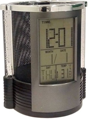 CARE 4 1 Compartments PLASTIC ROUND PEN HOLDER WITH LCD CLOCK(Black)  available at flipkart for Rs.400