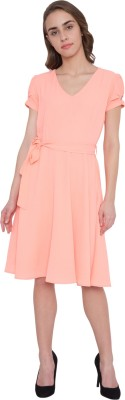 Saarvi Fashion Women Fit and Flare Blue, Pink Dress