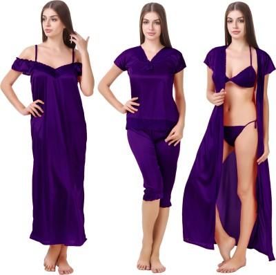Bombshell Women's Nighty with Robe, Top and Capri(Purple)