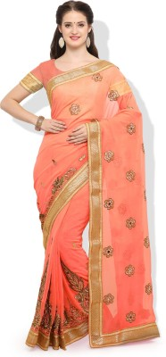 Venika Creations Embellished Fashion Georgette Saree(Pack of 2, Pink)