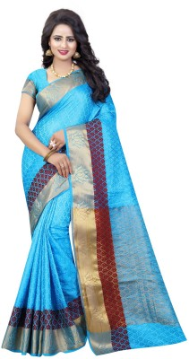 INDIAN BEAUTIFUL Self Design Banarasi Cotton Silk Saree(Light Blue)