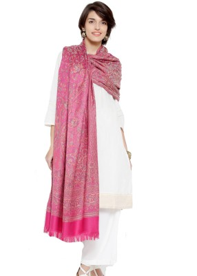 Weavers Villa Pure Wool Printed Women Shawl(Pink)