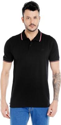 Zido Solid Men's Polo Neck Black T-Shirt