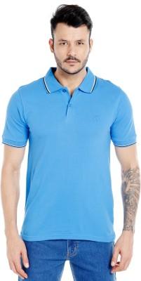 Zido Solid Men's Polo Neck Light Blue T-Shirt
