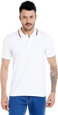 Zido Solid Men's Polo Neck White T-Shirt