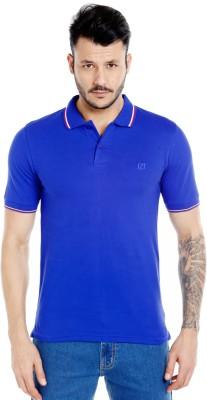 Zido Solid Men's Polo Neck Dark Blue T-Shirt