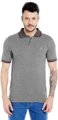 Zido Solid Men's Polo Neck Grey T-Shirt