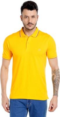 Zido Solid Men's Polo Neck Yellow T-Shirt