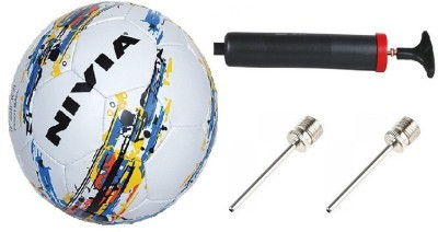 Nivia Combo of 3, One 'Trainer' Football, One Pump and Two Needle Football - Size: 5(Pack of 1, Multicolor)  available at flipkart for Rs.750