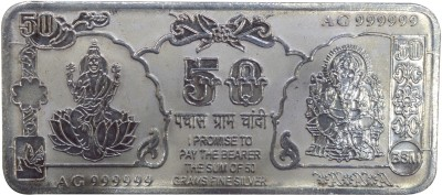 Kataria Jewellers Lakshmi Ganesha S 999 50 g Silver Coin Kataria Jewellers Coins   Bars