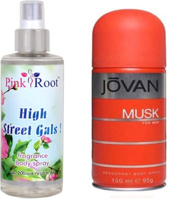 Jovan Orange Musk for Men 150ml and Pink Root High Street Gals Fragrance body Spray 200ml Pack of 2(Set of 2)  available at flipkart for Rs.490